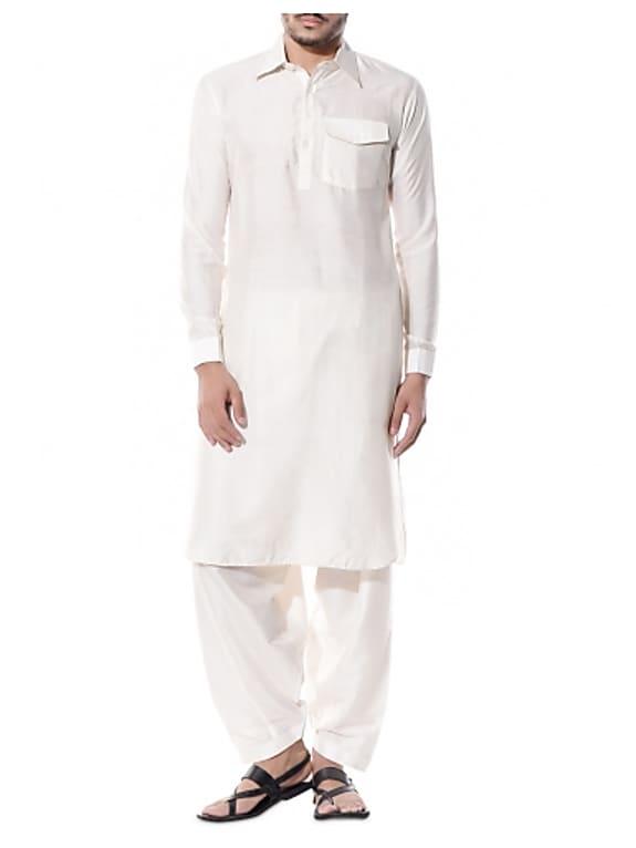 white cotton silk pathani salwar set