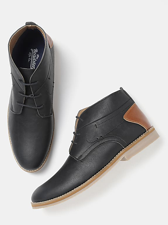 roadster men black solid mid-top derbys