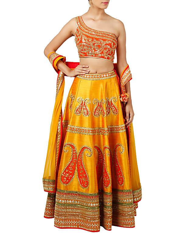 go for mustard and orange gota work lehenga set