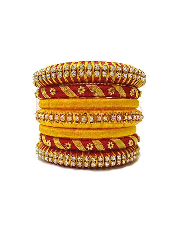 red, yellow and gold colour silk thread bangle set