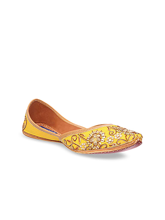 msc women yellow woven design embellished leather mojaris