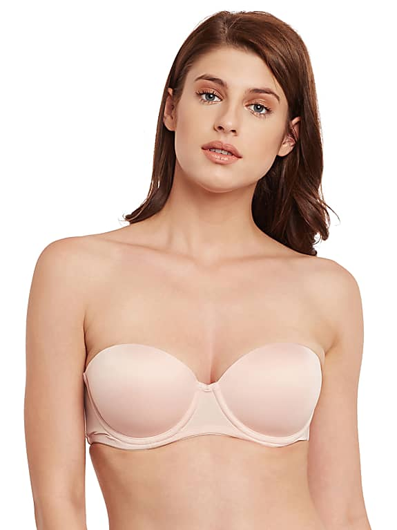 secrett curves beige solid underwired non padded everyday strapless bra