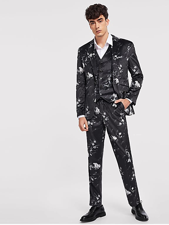 go for men floral print velvet blazer & pants & waistcoat