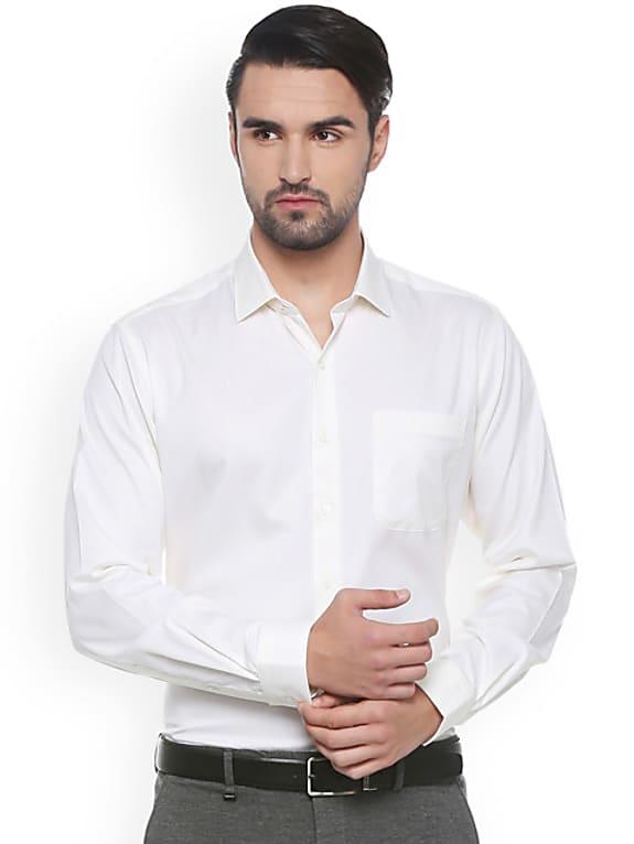 van heusen men white regular fit self design formal shirt