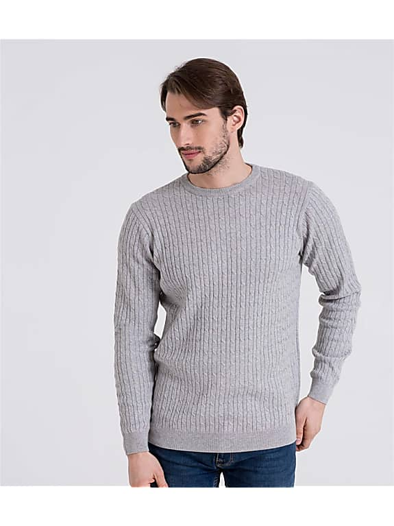 mens cashmere and cotton cable crew neck sweater in grey marl