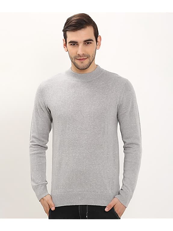 bravesoul solid round neck casual men grey