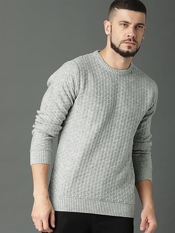 roadster men grey self design