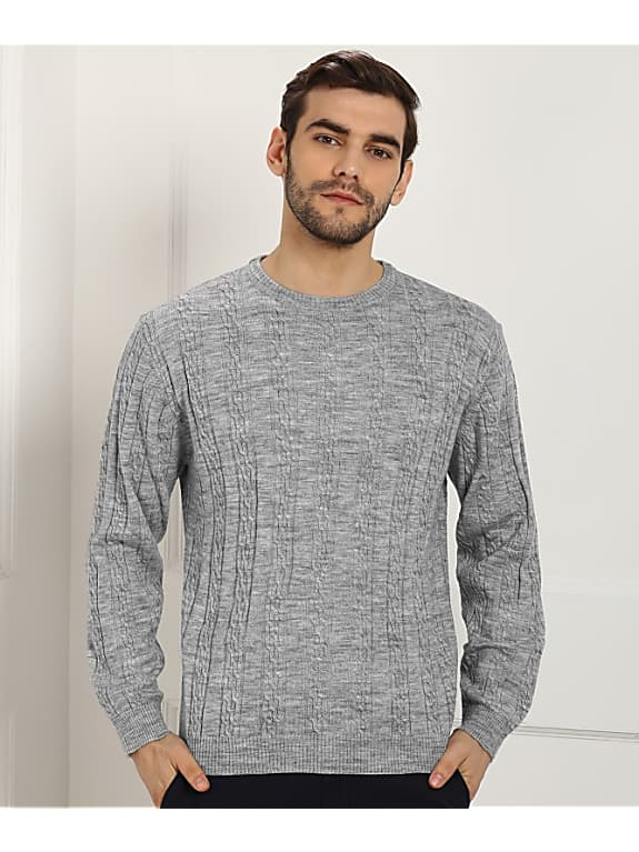 john players self design round neck casual mens grey