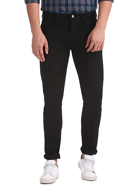 izod men black slim fit mid-rise clean look