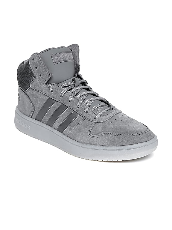 adidas men grey hoops 2.0 mid suede basketball shoes