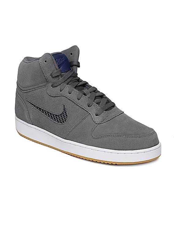 nike men grey solid ebernon mid prem suede mid-top sneakers