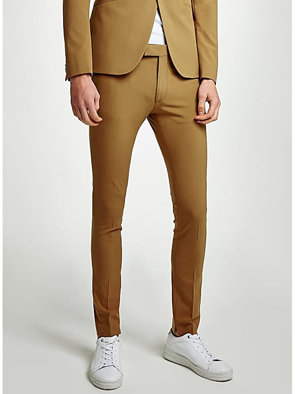 gold spray on suit trousers