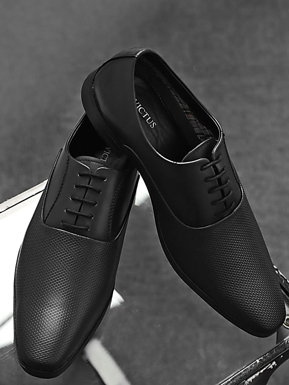 invictus men black textured oxfords