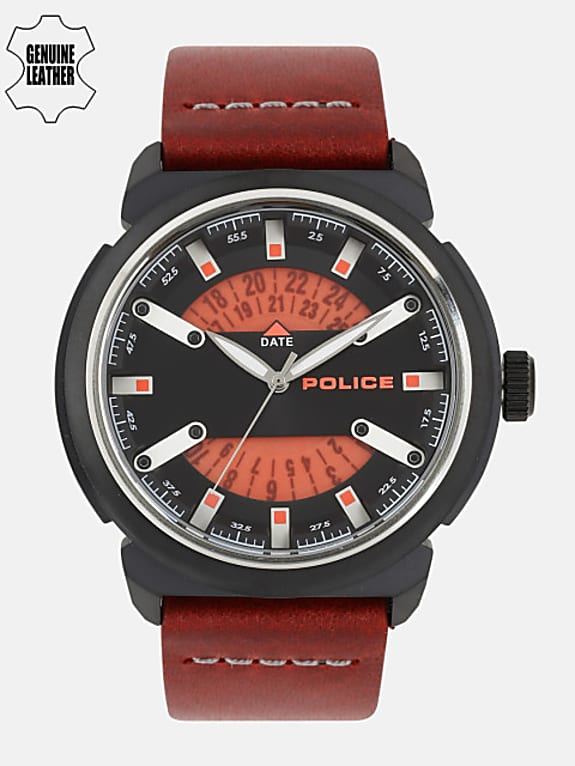 police men black & red analogue watch