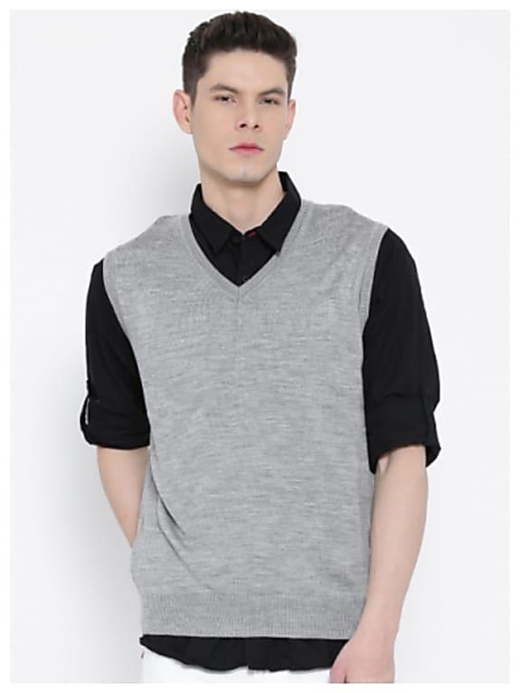 indian terrain men grey melange solid sweater