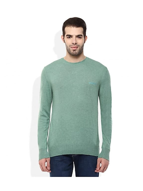 woodland green round neck solids sweaters