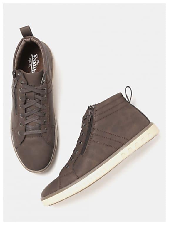 roadster men coffee brown solid mid-top sneakers