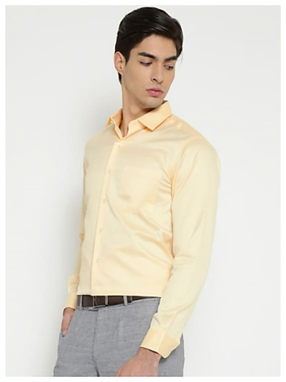 wills lifestyle men yellow formal shirt