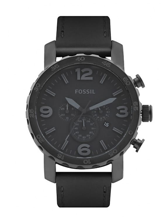 fossil men black dial chronograph watch