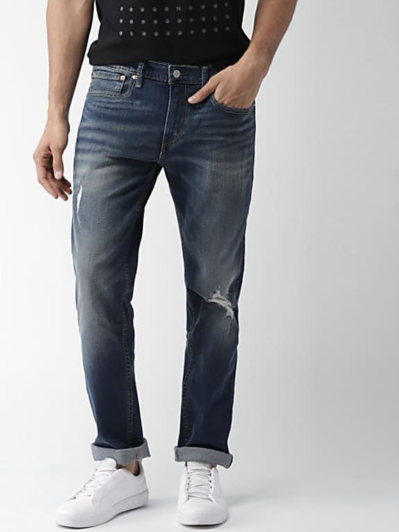 blue slim fit low-rise mildly distressed stretchable jeans