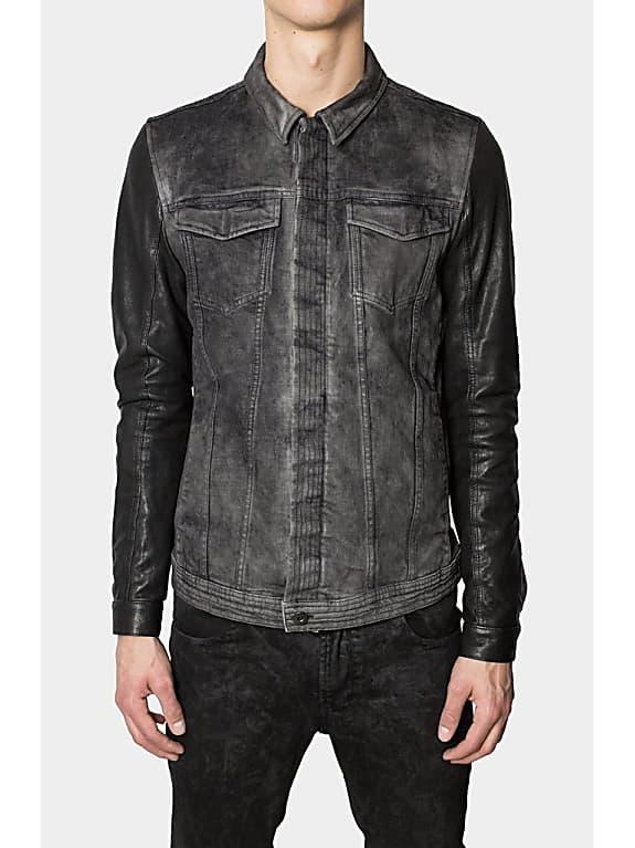 leather sleeves dirt-dye denim jacket