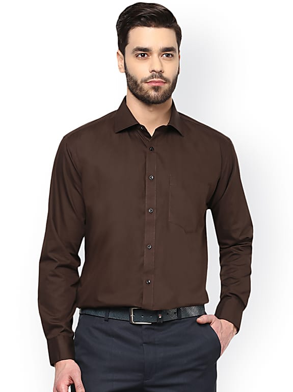 men coffee brown comfort regular fit solid formal shirt