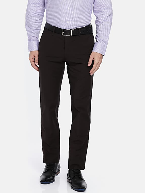 men brown ultra slim fit solid formal trousers
