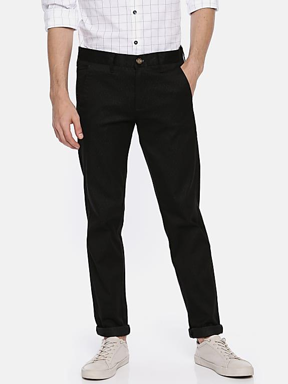 men black slim fit self design formal trousers