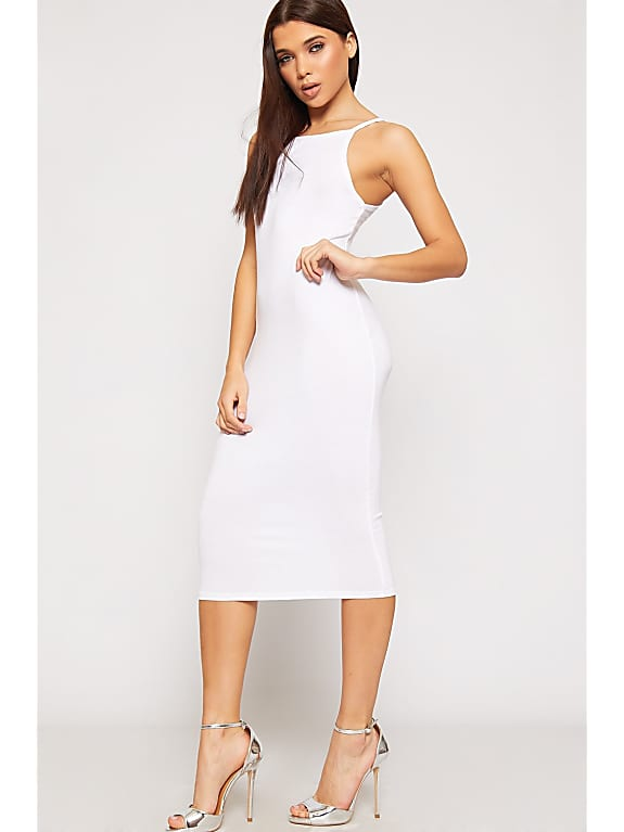 go for viola high neck bodycon midi dress