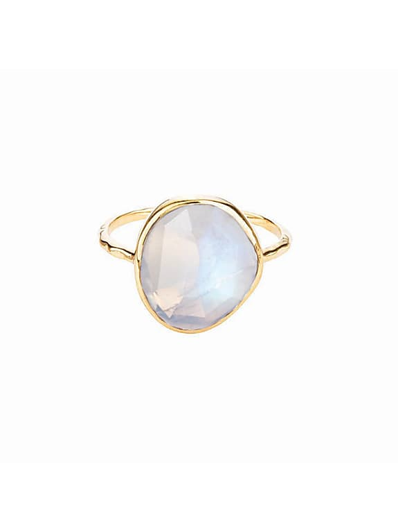 gold vermeil simple semi precious stone ring in moonstone