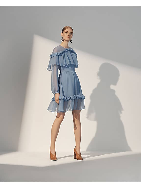 prabal gurung blue sheer ruffle dress resort 2018