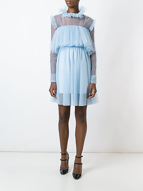 msgm sheer longsleeved ruffled dress