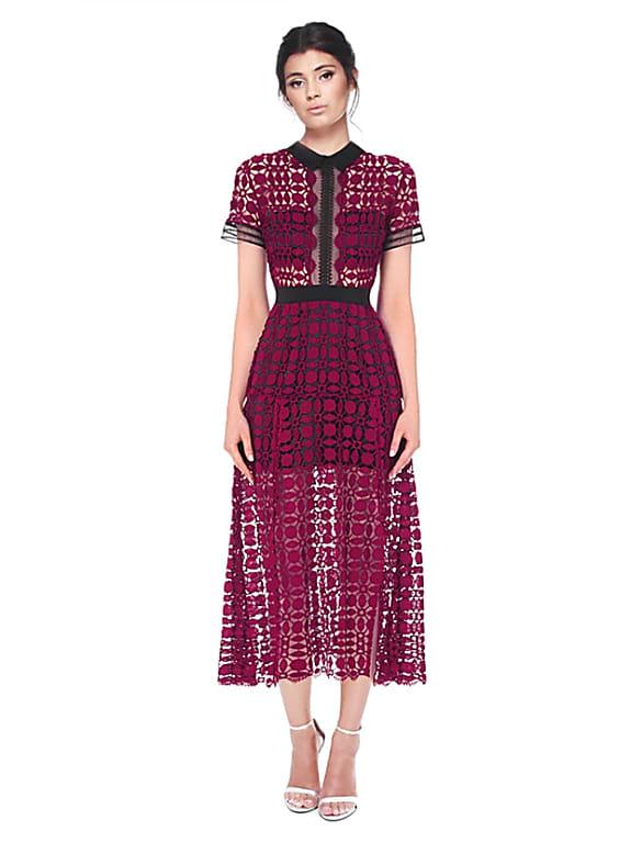 self portrait burgundy lace dress