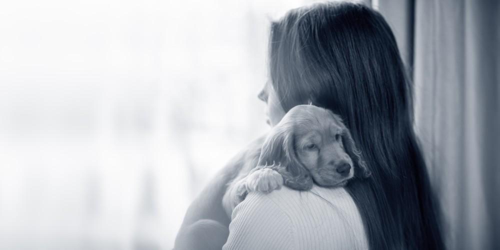 puppy bij baasje op de schouder