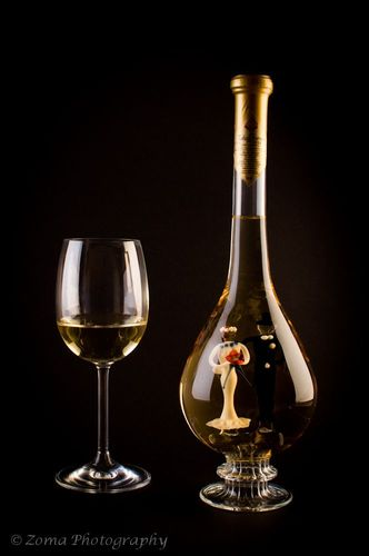 f-16 Ozdobná fľaša v nej mladomanželia