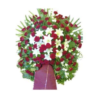 Großes Trauergesteck in Rot und Weiß
