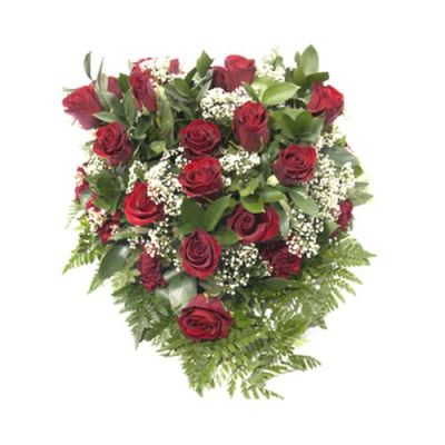 Trauergesteck mit roten Rosen