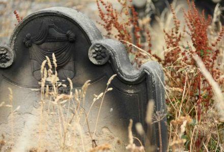 Fotographie eines verwitterten Grabsteins.