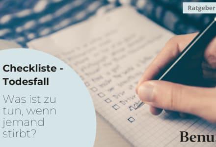Notizblock mit Checkliste für Sterbefall