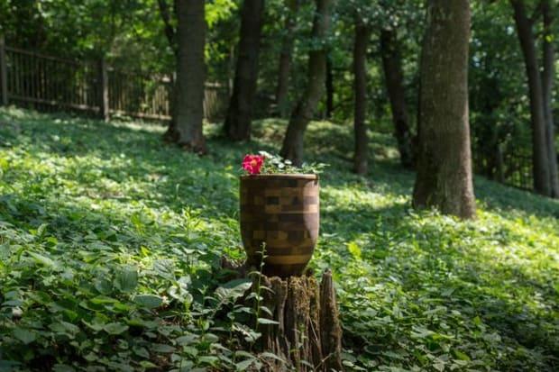 Urne auf einem Waldfriedhof
