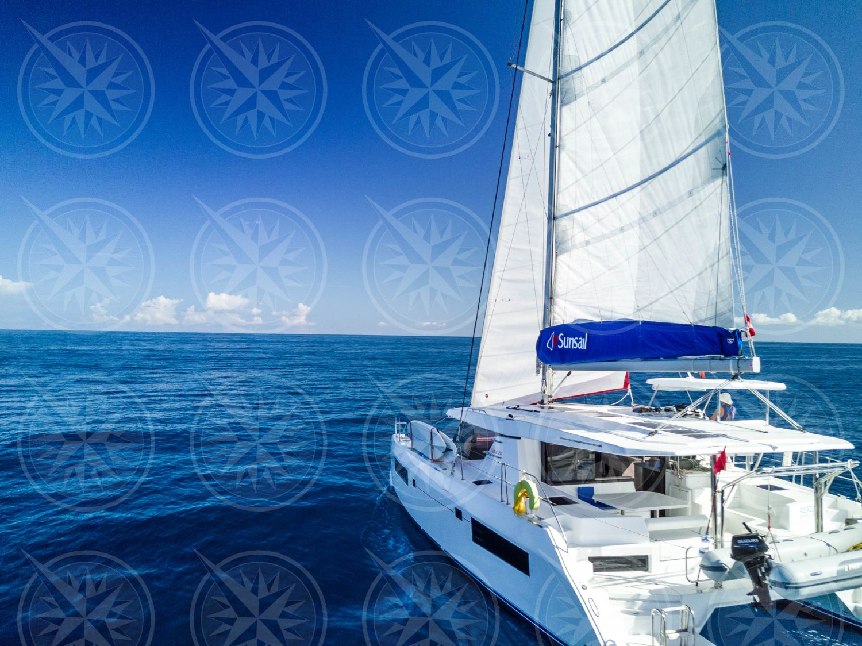 Catamaran sailing in open seas