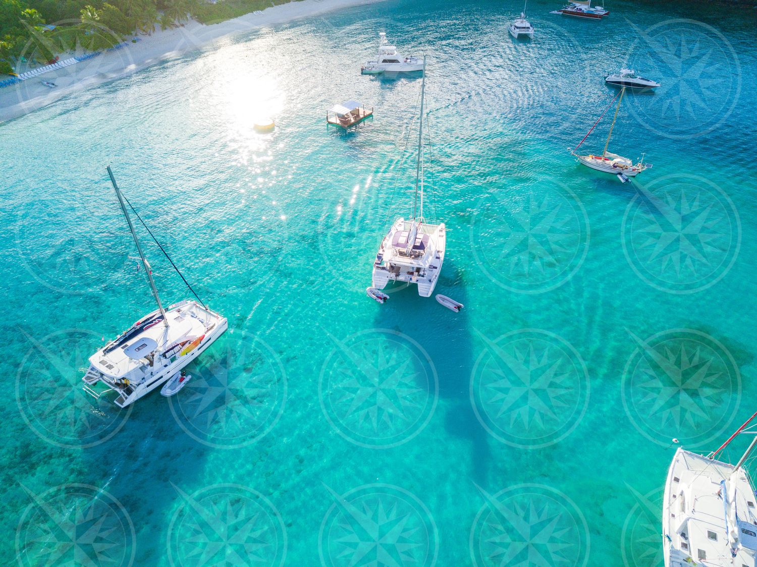 Boats at anchor from above