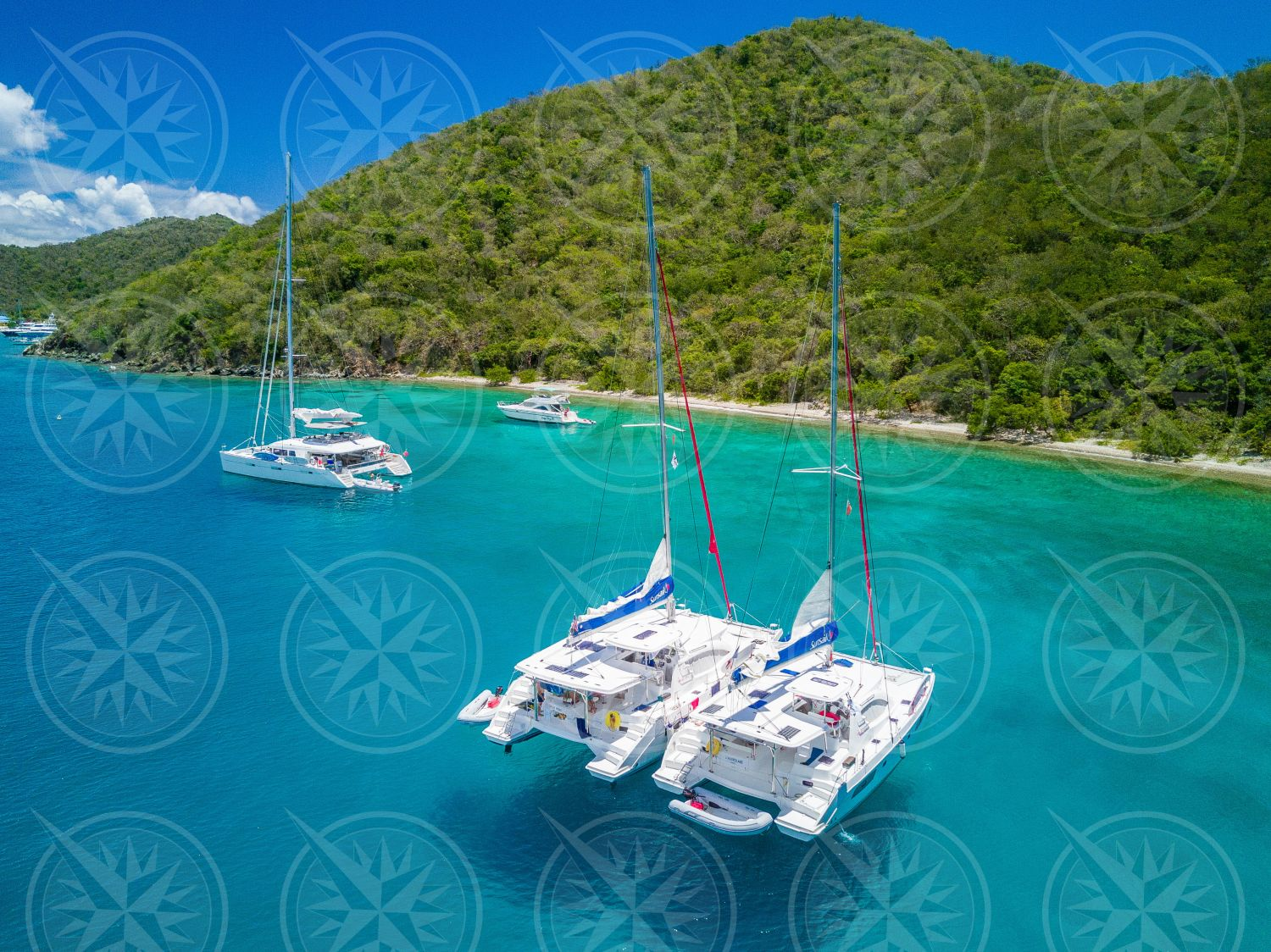 Rafted yachts