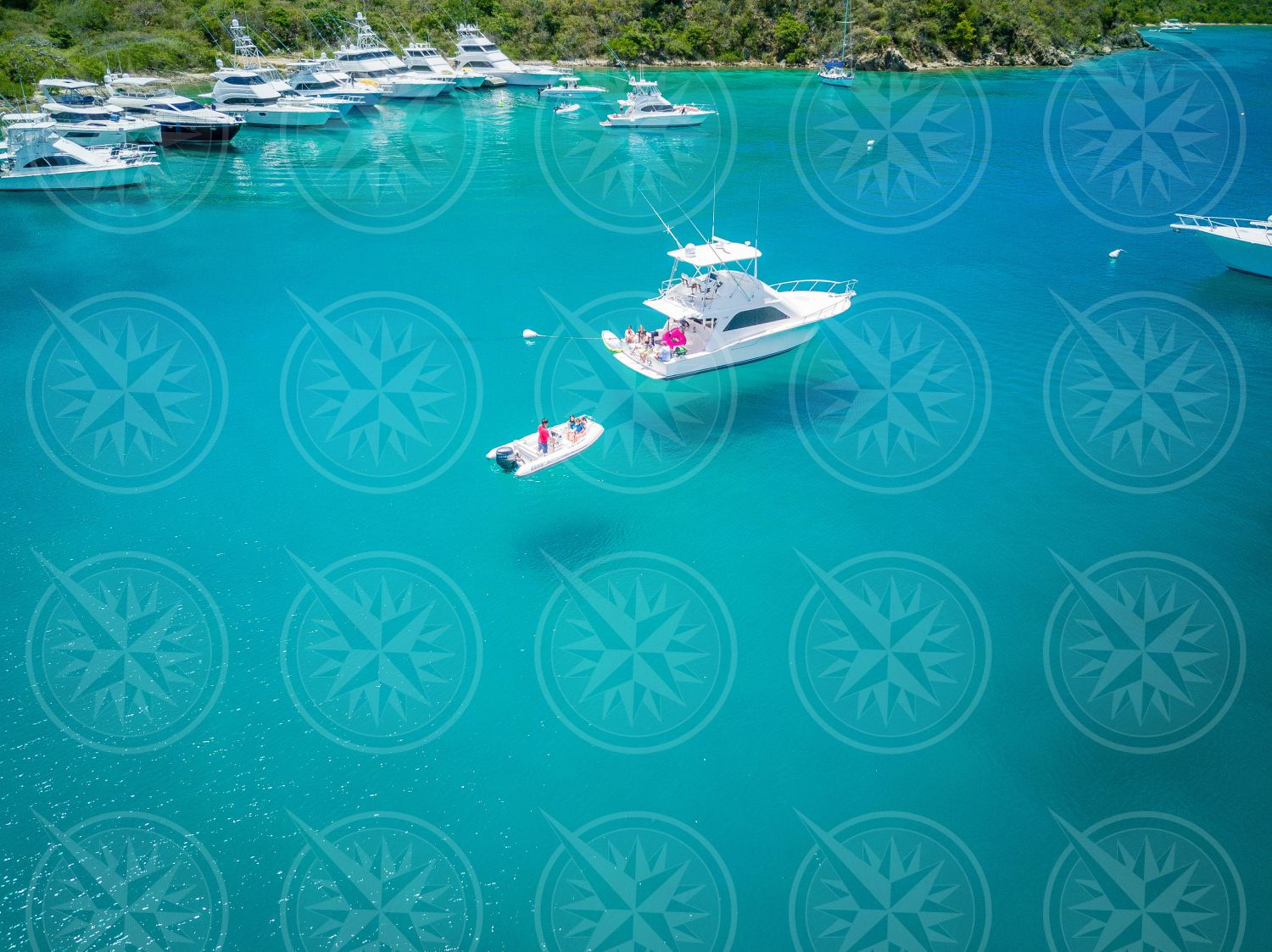 Boats over clear waters