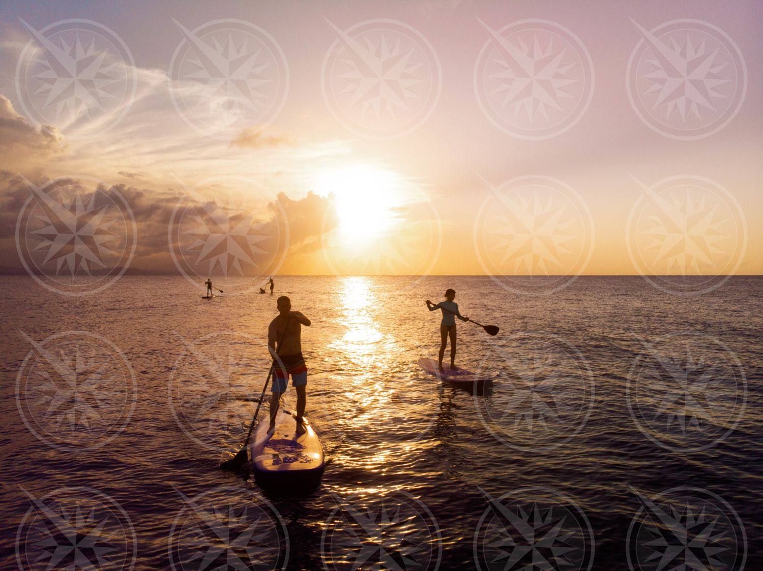 Stand up paddle boarding at sunset