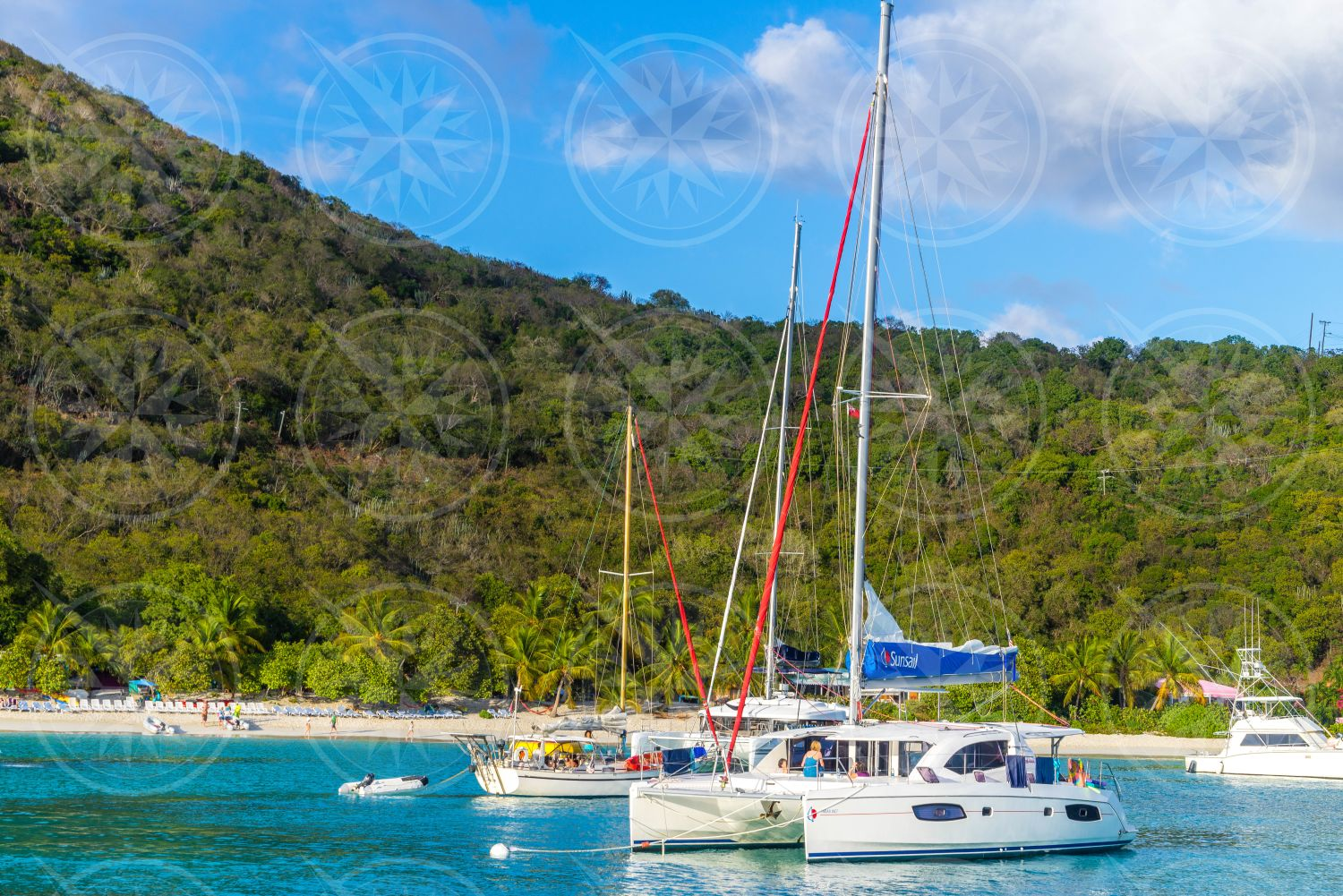 Sailboats in anchorage of White Bay, Jost Van Dyke, British Virgin Islands