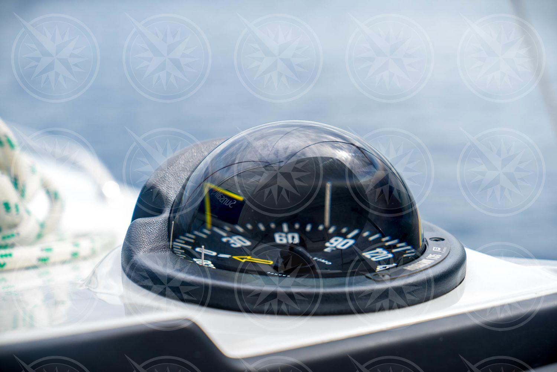 Compass on sailboat closeup