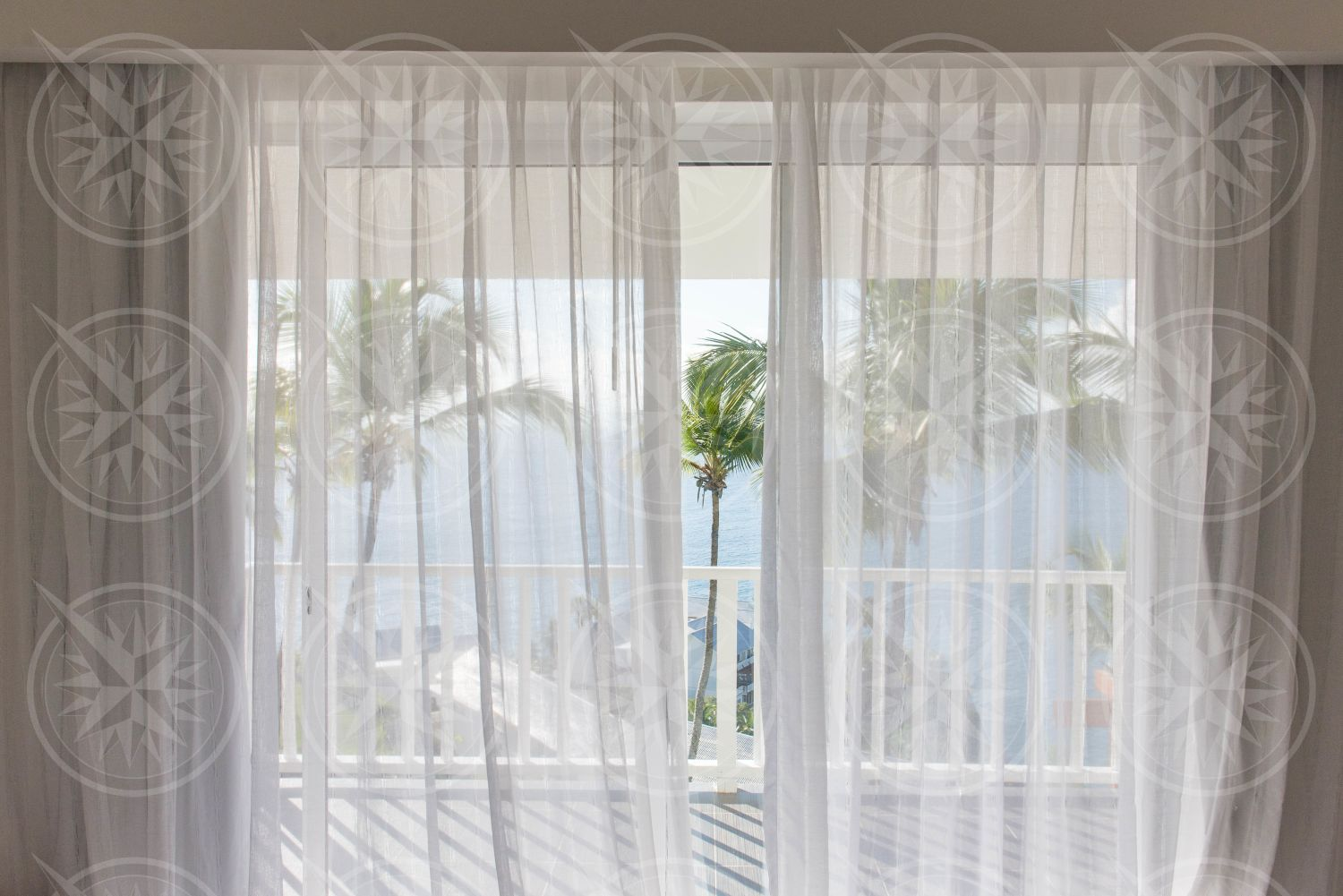Coconut palm trees through curtains from inside