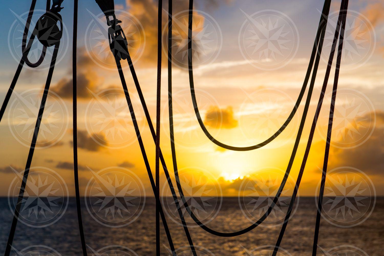 Sailing lines at sunset