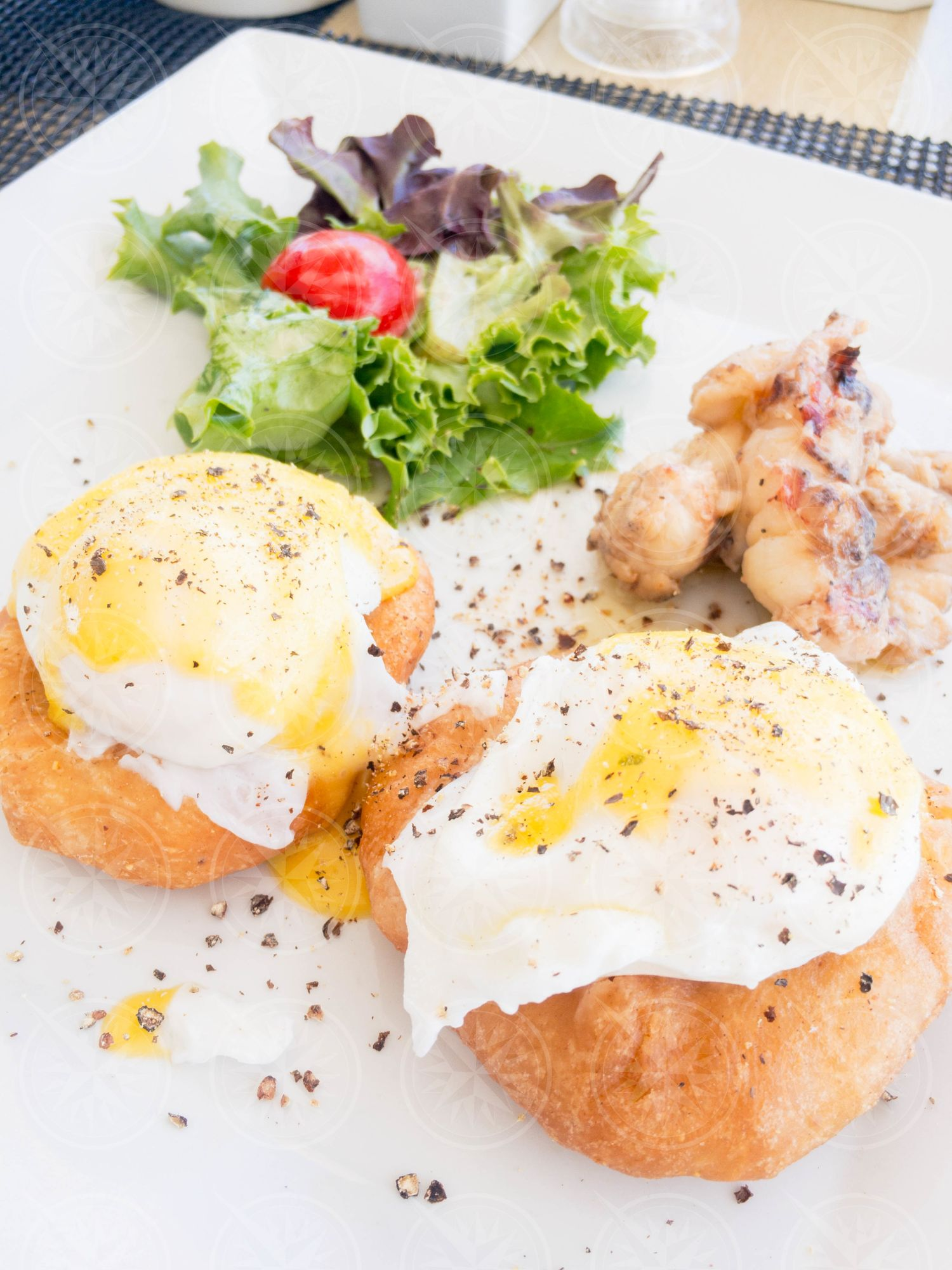 Poached eggs and fry bake